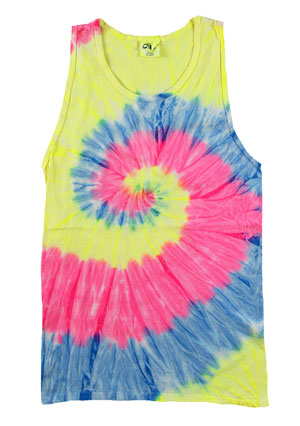 RGRiley | Mens Neon Rainbow Tie Dye Tank Tops | Irregular