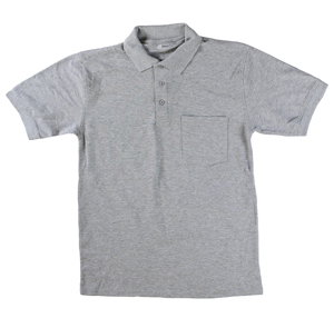 RGRiley | Mens Heather Grey Polo Shirts With Pocket | Irregular