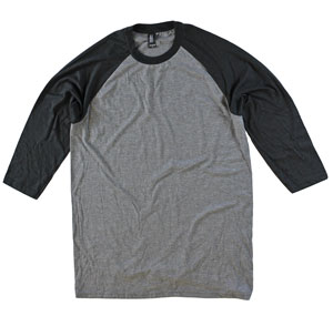 089eebe9262c RGRiley | Bulk 3/4 Sleeve Tri-Blend Black/Grey T-Shirts