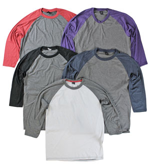 RGRiley | Mens 3/4 Sleeve Tri Blend T-Shirts | Irregular