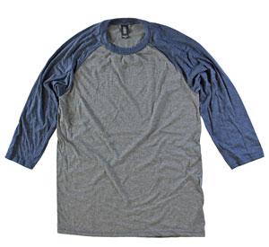 RGRiley | Adult Bulk Tri Blend 3/4 Sleeve Navy/Grey T-Shirt | Wholesale Closeout