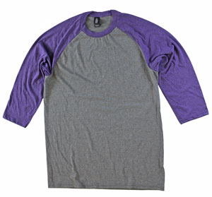 RGRiley | Adult Bulk Tri Blend 3/4 Sleeve Purple/Grey Tees| Wholesale Closeout