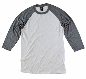 RGRiley | Adult Bulk Tri Blend 3/4 Sleeves Grey/White Tees | Wholesale Closeout