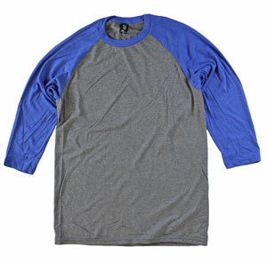 RGRiley.com | Mens Tri Blend 3/4 Sleeves Royal Body/GreyFrost Sleeve | Closeout