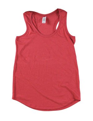 RGRiley | Womens Red Frost Tri Blend Tank Tops | Irregular