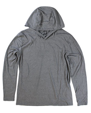 RGRiley | Mens Grey Frost Hooded Long Sleeve T-Shirts | Irregular