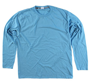 RGRiley | Adult Bulk Long Sleeve Aquatic Blue T-shirts | Irregular