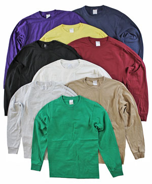 RGRiley | Adult Bulk Long Sleeve Mixed Colors T-shirts | Irregular