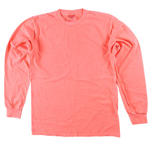 RGRiley | Adult Bulk Long Sleeve Neon Coral T-Shirts | Irregular