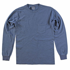 RGRiley | Adult  Bulk Long Sleeve Denim Blue T-shirts | Irregular