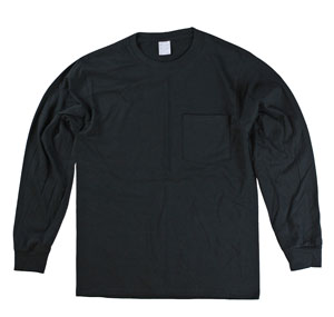 RGRiley | Mens Black Long Sleeve Pocket Tees | Slightly Irregular