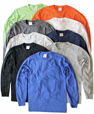 RGRiley | Mens Long Sleeve Pocket Tees | Slightly Irregular