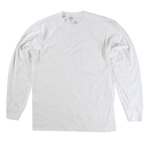 RGRiley | Mens White Long Sleeve Pocket Tees | Slightly Irregular