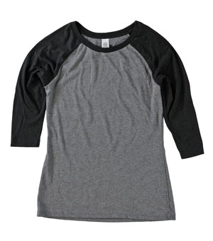 RGRiley.com | Womens 3/4 Sleeve Tri Blend T-Shirts Black & Grey | Closeout