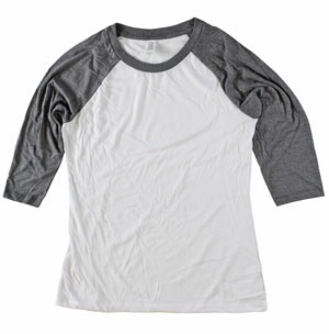 RGRiley.com | Womens 3/4 Sleeve Tri Blend T-Shirts Grey & White | Closeout