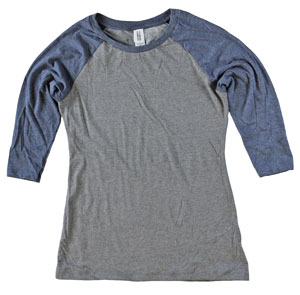 RGRikey.com | Womens 3/4 Sleeve Tri Blend T-Shirts Navy & Grey | Closeout