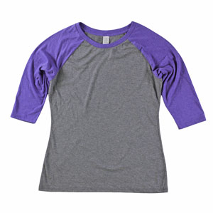 RGRiley.com | Womens 3/4 Sleeve Tri Blend T-Shirts Purple & Grey | Closeout