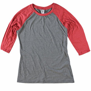 RGRiley.com | Womens 3/4 Sleeve Tri Blend T-Shirts Red & Grey | Closeout