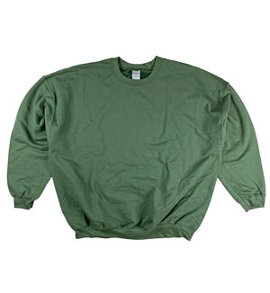 RGRiley | Gildan Mens Olive Green Crew Neck Sweatshirts | Irregular