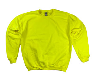 RGRiley | Gildan Mens Safety Green Crew Neck Sweatshirts | Irregular