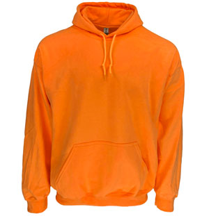 RGRiley | Gildan Mens Safety Orange Pullover Hoodies | Irregular
