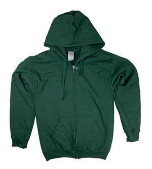 RGRiley | Gildan Mens Forest Green Zipper Hoodies | Irregular