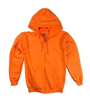 RGRiley | Gildan Mens Orange Zipper Hoodies | Irregular