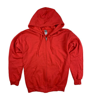 RGRiley | Gildan Mens Red Zipper Hoodies | Irregular