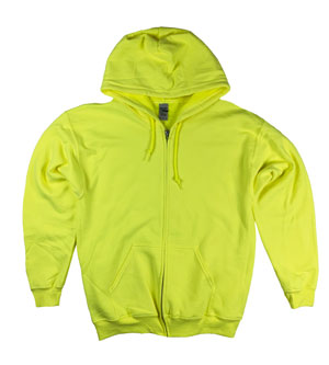 RGRiley | Gildan Mens Safety Green Zipper Hoodies | Irregular