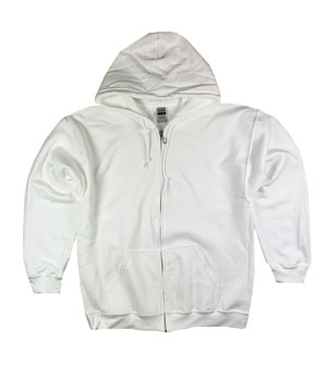 RGRiley | Gildan Mens White Zipper Hoodies | Irregular