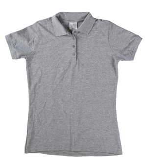 RGRiley | Ladies Heather Grey 4 Button Henley Polo Shits | Irregular