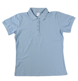 RGRiley | Ladies Light Blue 4 Button Henley Polo Shits | Irregular