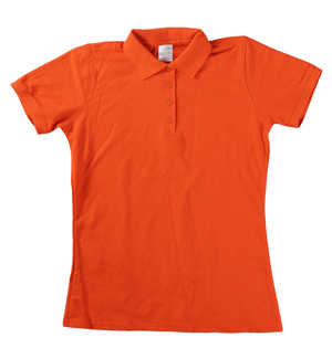 RGRiley | Ladies Orange 4 Button Henley Polo Shits | Irregular