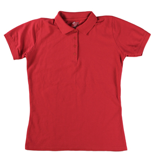 RGRiley | Ladies Red 4 Button Henley Polo Shits | Irregular