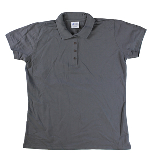 RGRiley | Ladies Smoke Grey 4 Button Henley Polo Shits | Irregular