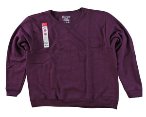 RGRiley | Womens First Quality Hanes Plum Port Crew Sweatshirt | Closeout