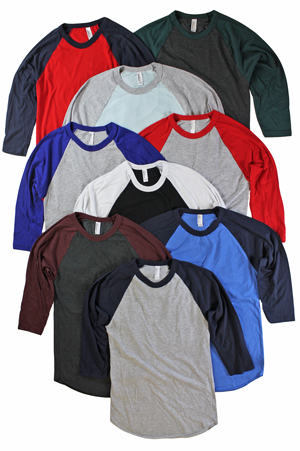 RGRiley | American Apparel Mens 3/4 Sleeve Baseball T-Shirts | Irregular