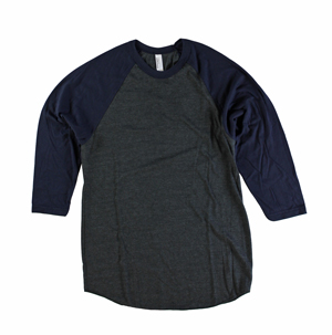 RGRiley | American Apparel Mens Heather Black/Navy 3/4 Sleeve T's | Irregular
