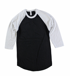 RGRiley | American Apparel Mens Black/White 3/4 Sleeve Baseball T's | Irregular