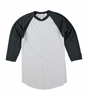 RGRiley | American Apparel Mens White/Black Heather 3/4 Sleeve T's | Irregular