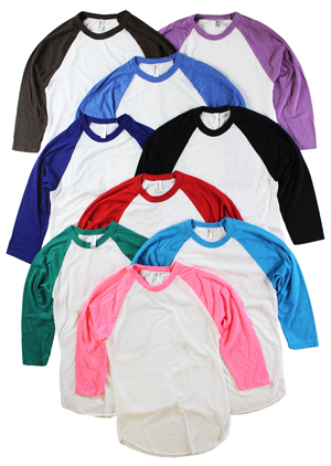 RGRiley | American Apperal Mens 3/4 Sleeve Baseball T-Shirts | Irregular