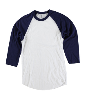 RGRiley | American Apparel Mens White/Navy 3/4 Sleeve Baseball T's | Irregular