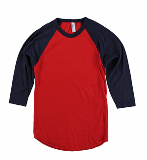 RGRiley | American Apparel Mens Red/Navy 3/4 Sleeve Baseball T's | Irregular