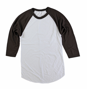 RGRiley | American Apparel Mens White/Brown 3/4 Sleeve Baseball T's | Irregular