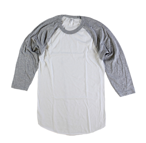 RGRiley | American Apparel Mens White/Heather Grey 3/4 Sleeve T's | Irregular