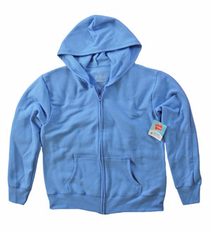 RGRiley | Womens Bulk Cloudless Blue Zipper Hooded Sweatshirt | Hanes Closeout