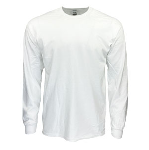 RGRiley | Gildan Mens White Long Sleeve T-Shirts | Irregular