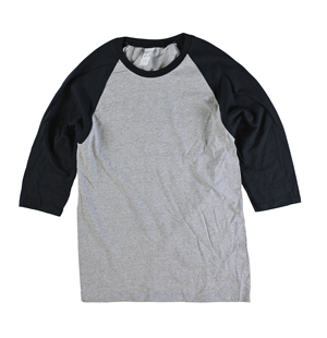 RGRiley | Gildan Mens Grey/Black 3/4 Sleeve Baseball T-Shirts | Irregular