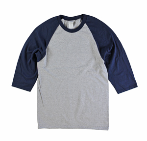 RGRiley | Gildan Mens Grey/Navy 3/4 Sleeve Baseball T-Shirts | Irregular