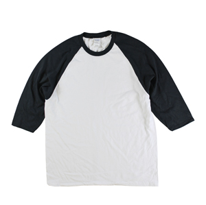 RGRiley | Gildan Mens White/Black 3/4 Sleeve Baseball T-Shirts | Irregular
